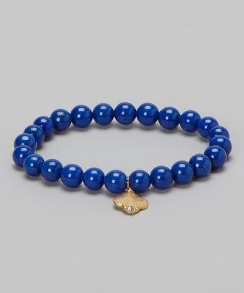 Gold & Blue Lapis Clover Charm Stretch Bracelet