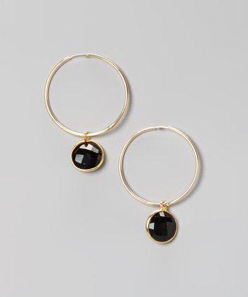 Gold & Onyx Hoop Earrings