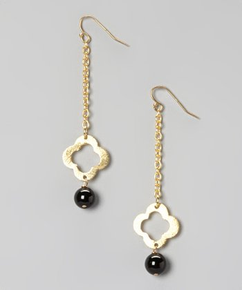 Gold & Onyx Clover Chain Drop Earrings