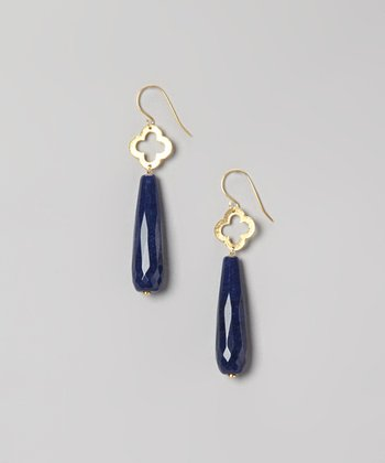 Gold & Midnight Blue Jade Clover Drop Earrings