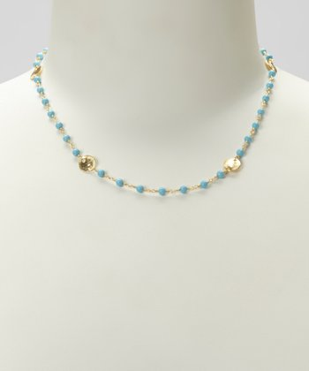 Gold & Turquoise Beaded Disc Necklace