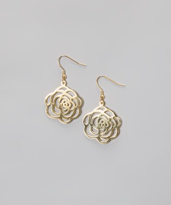 Gold Open Rose Drop Earrings