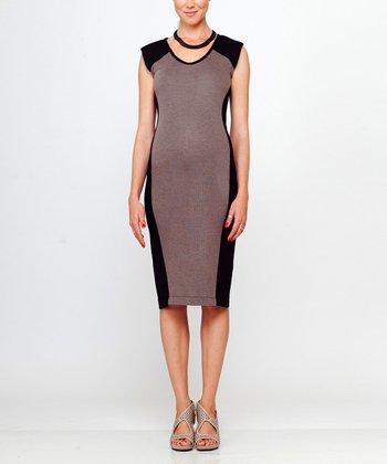 Mocha & Black Shir Maternity Dress