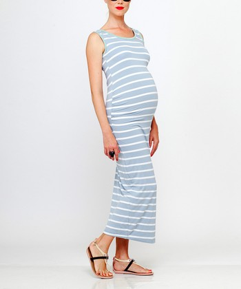 Blue & White Stripe Michi Maternity Maxi Dress
