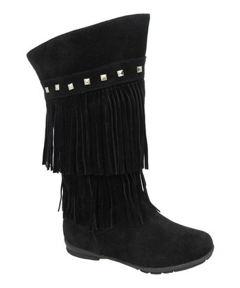 Black Studded Fringe Trina Boot