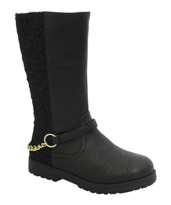 Black Leopard Chain Claudia Boot