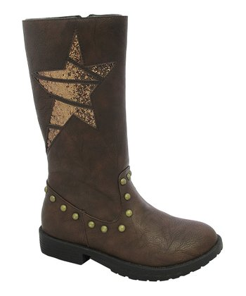 Brown Star Sparkle Cutout Boot
