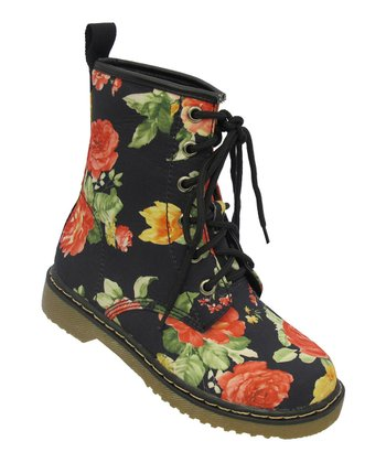 Black Floral Welma Boot