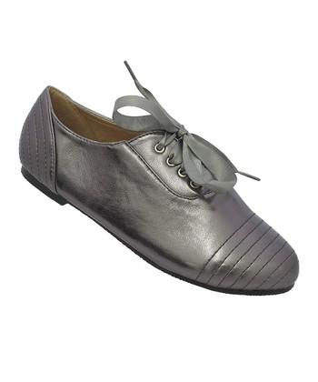 Pewter Metallic Ribbon Katty Shoe
