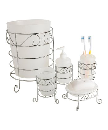 Chrome & White Bathroom Accessory Set