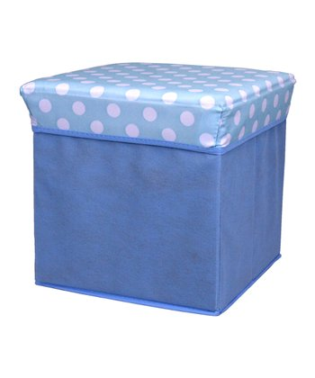 Blue Polka Dot Small Folding Storage Ottoman