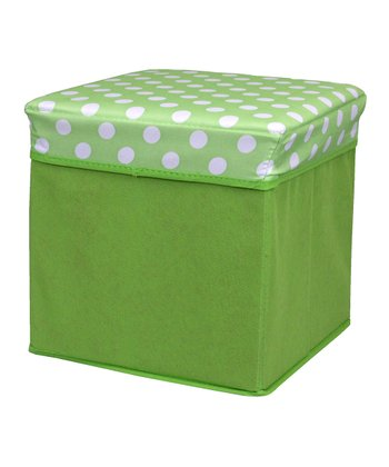 Green Polka Dot Small Folding Storage Ottoman