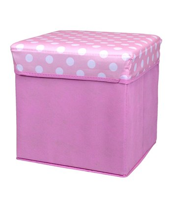 Pink Polka Dot Small Folding Storage Ottoman
