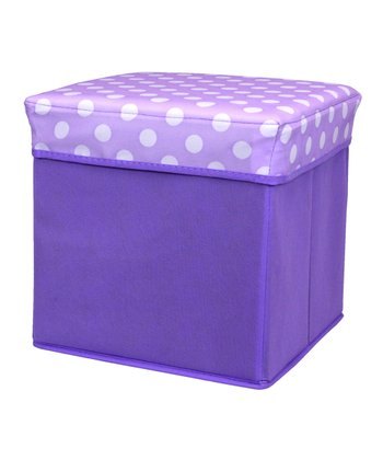 Purple Polka Dot Small Folding Storage Ottoman