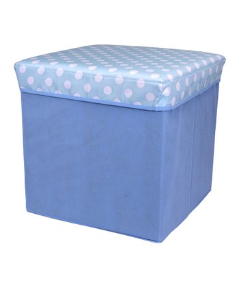 Blue Polka Dot Large Folding Storage Ottoman