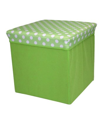 Green Polka Dot Large Folding Storage Ottoman