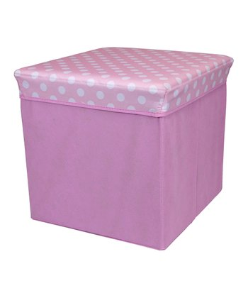 Pink Polka Dot Large Folding Storage Ottoman