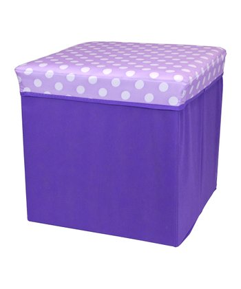 Purple Polka Dot Large Folding Storage Ottoman