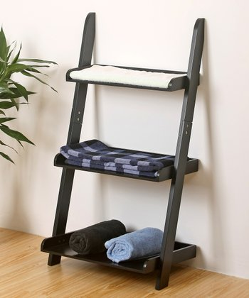 Black Three-Tier Ladder Shelf