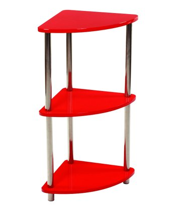 Red Three-Tier Corner Shelf