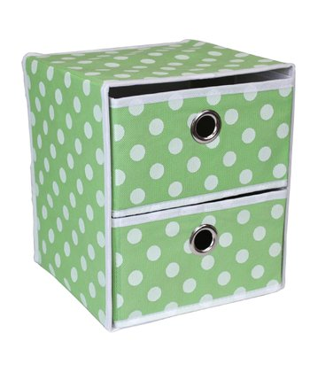 Green Polka Dot Two-Drawer Organizer