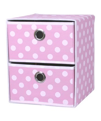 Pink Polka Dot Two-Drawer Organizer