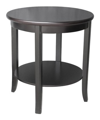 Espresso Round Two-Tier Accent Table