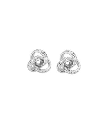 Sterling Silver & Diamond Love Knot Earrings