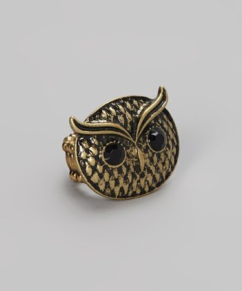 Antique Gold Owl Face Ring