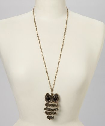 Antique Gold Owl Pendant Necklace