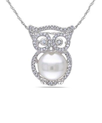 Pearl & Sterling Silver Owl Pendant Necklace