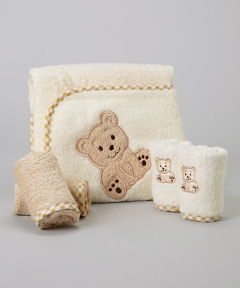 Brown Bear Hooded Towel Set