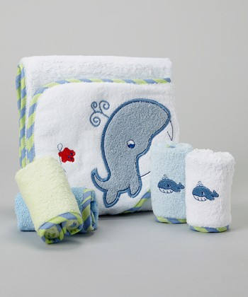 Blue Whale Hooded Towel Set