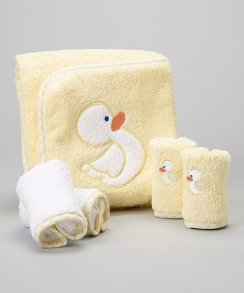 Yellow Duck Hooded Towel Set