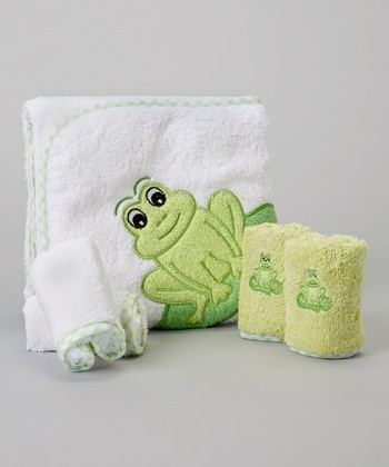 Green Frog Hooded Towel Set