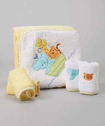 Yellow Animal Boat Hooded Towel Set