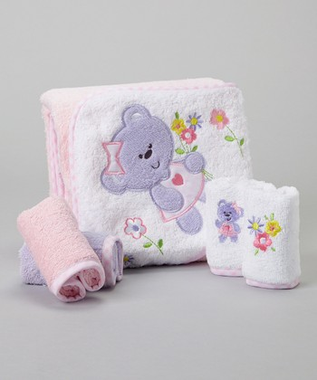 Purple Bear Hooded Towel Set