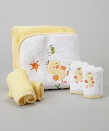 Yellow Duckling Hooded Towel Set