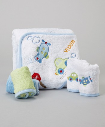 Blue Airplane & Car Hooded Towel Set