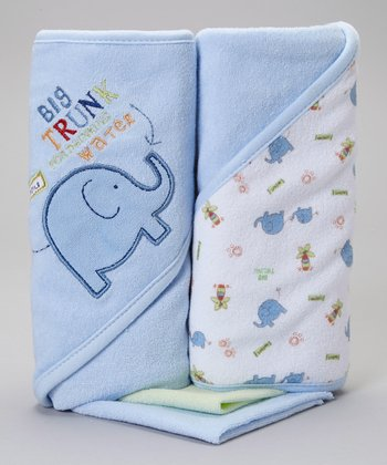 Blue 'Big Trunk' Hooded Towels & Washcloths Set