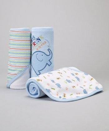 Blue 'Big Trunk' Hooded Towel Set