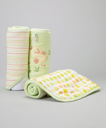 Green Duckling Hooded Towel - Set of 3