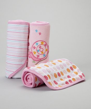 Pink Snail Hooded Towel Set