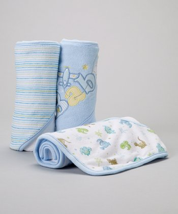 Blue 'Baby' Airplane Hooded Towel - Set of Three