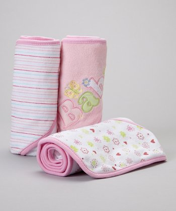 Pink 'Baby' Butterfly Hooded Towel Set