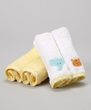 Yellow Elephant & Tiger Terry Washcloth Set