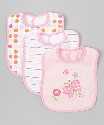 Pink Butterfly Bib Set