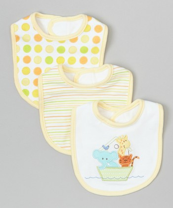 Yellow Animal Boat Bibs Set