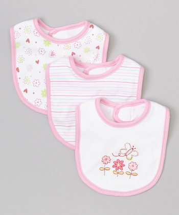 Pink Flower Bib Set