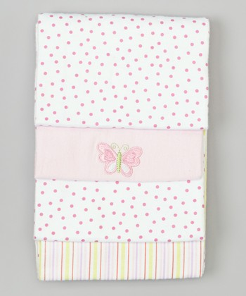 Pink Butterfly Flannel Stroller Blanket Set